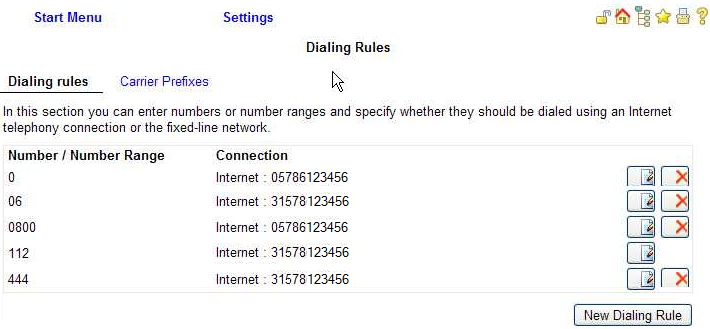 Dialing rules