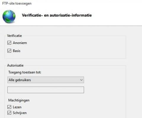 FTP Verificatie- en autorisatie-informatie