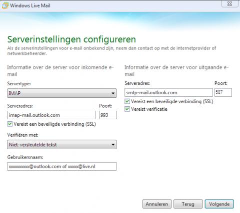 Serverinstellingen IMAP voor live.nl