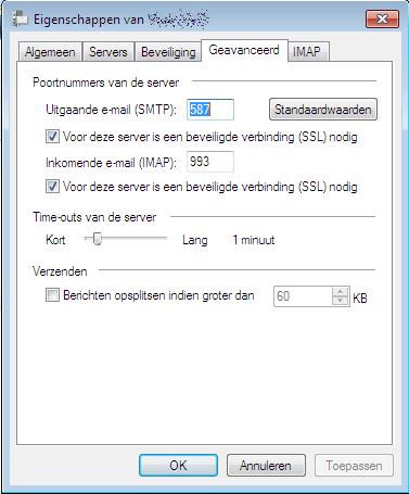 Windows Live Mail IMAP poorten juist instellen voor Microsoft mail
