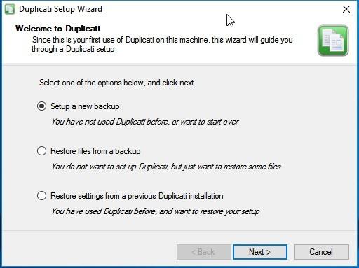 Welkomstscherm installatie Duplicati