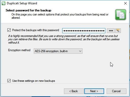 Kies een wachtwoord voor de Back-up