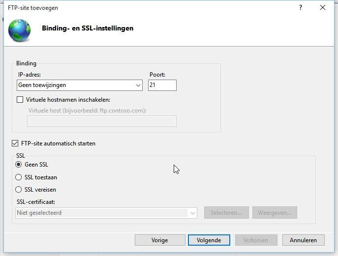 FTP binding- en SSL-instellingen ingeven