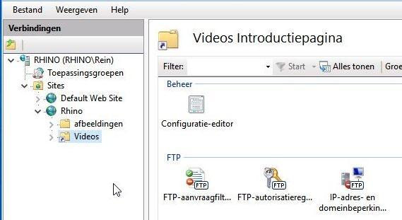 Virtuele map aanbrengen onder FTP